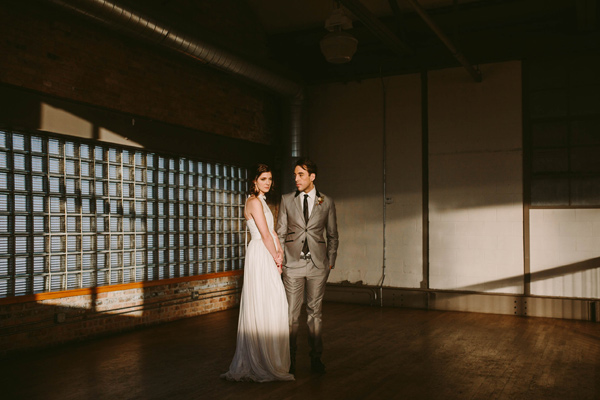 bride and groom - photo by Megan Saul Photography http://ruffledblog.com/modern-safari-wedding-inspiration