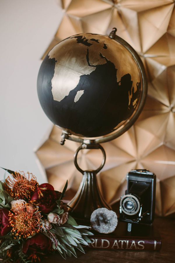 travel inspired wedding - photo by Megan Saul Photography http://ruffledblog.com/modern-safari-wedding-inspiration