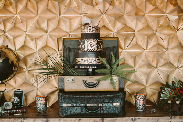 cake table - photo by Megan Saul Photography http://ruffledblog.com/modern-safari-wedding-inspiration