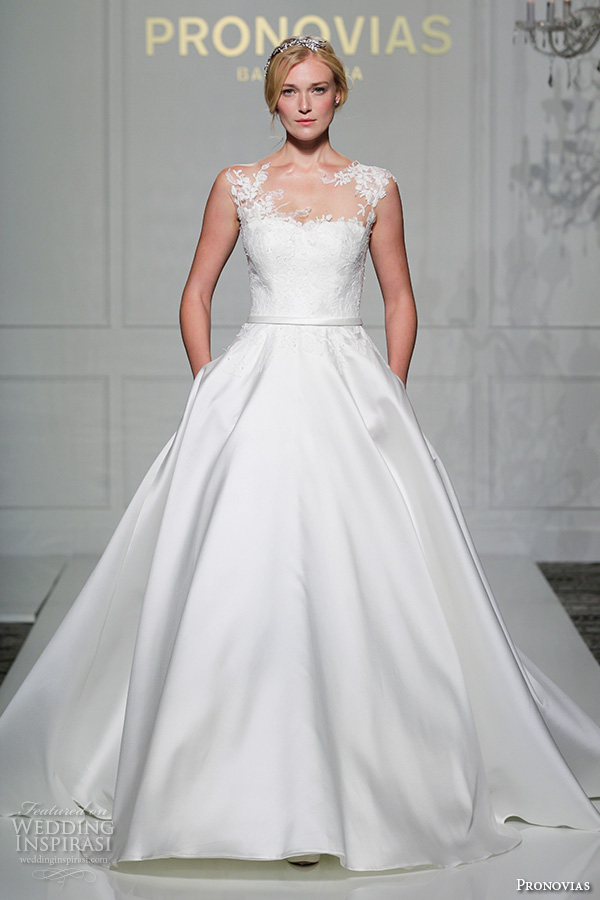 pronovias 2016 bridal gowns beautiful a line ball gown wedding dress with pockets sleeveless sheer sweetheart neckline lace bodice satin skirt style verila