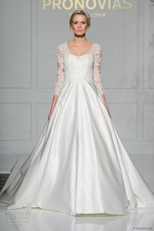 pronovias 2016 bridal gowns beautiful a line wedding ball gown dress 3 quarter sleeves lace straps and bodice satin skirt style versal