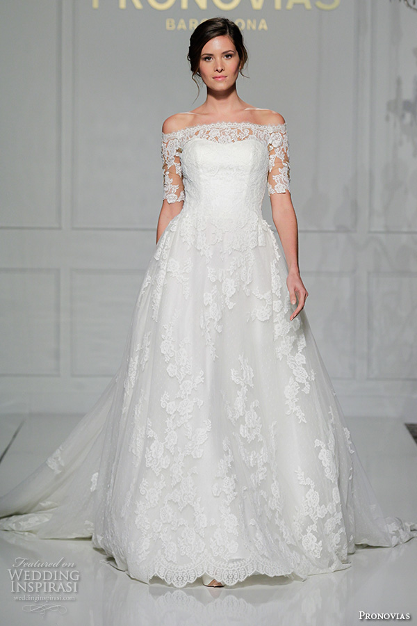 pronovias 2016 bridal gowns beautiful a line wedding ball gown dress off the shoulder half sleeves style pleasant