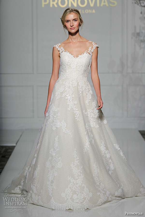 pronovias 2016 bridal gowns beautiful a line wedding dress flora lace strap lace embroidered gown style primadona