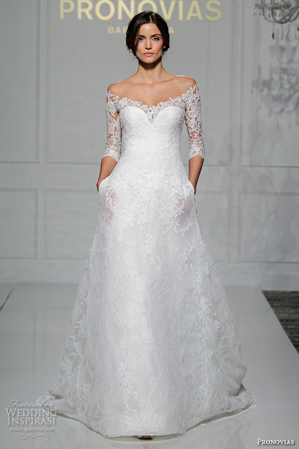pronovias 2016 bridal gowns beautiful off the shoulder 3 quarter sleeves a line wedding dress with pockets style varnava