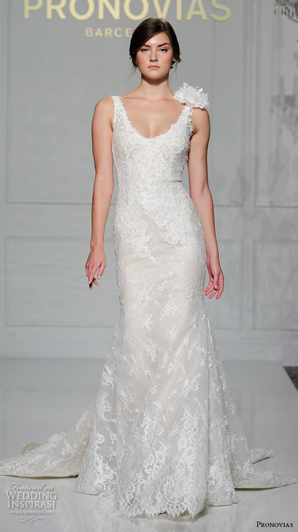 pronovias 2016 bridal gowns beautiful sheath wedding dress scoop neckline lace embroidered throughout style vivi