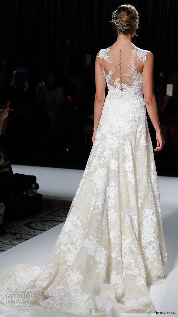pronovias 2016 bridal gowns beautiful sleeveless lace embroidered modified a line wedding dress style vienal