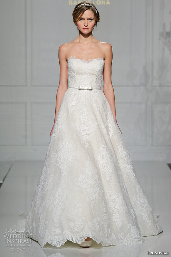 pronovias 2016 bridal gowns pretty strapless sweetheart neckline lace embroidered a line wedding dress style taffi
