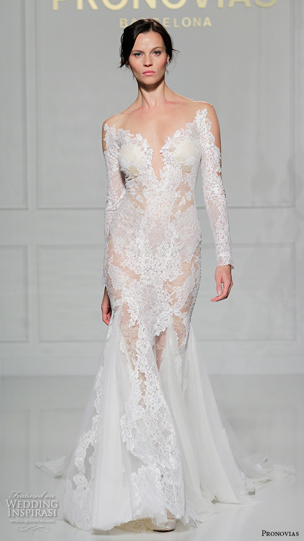 pronovias 2016 bridal gowns sexy deep plunging neckline lace long sleeves fit to flare trumpet wedding dress style vicki