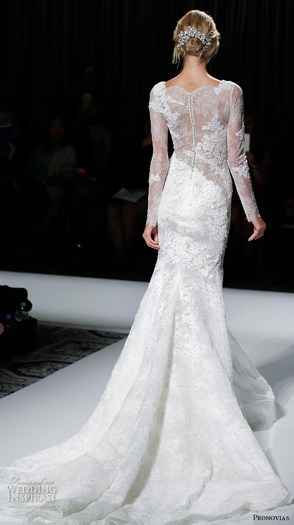 pronovias 2016 bridal gowns sexy long sleeves lace embroidery full mermaid wedding dress style varel back