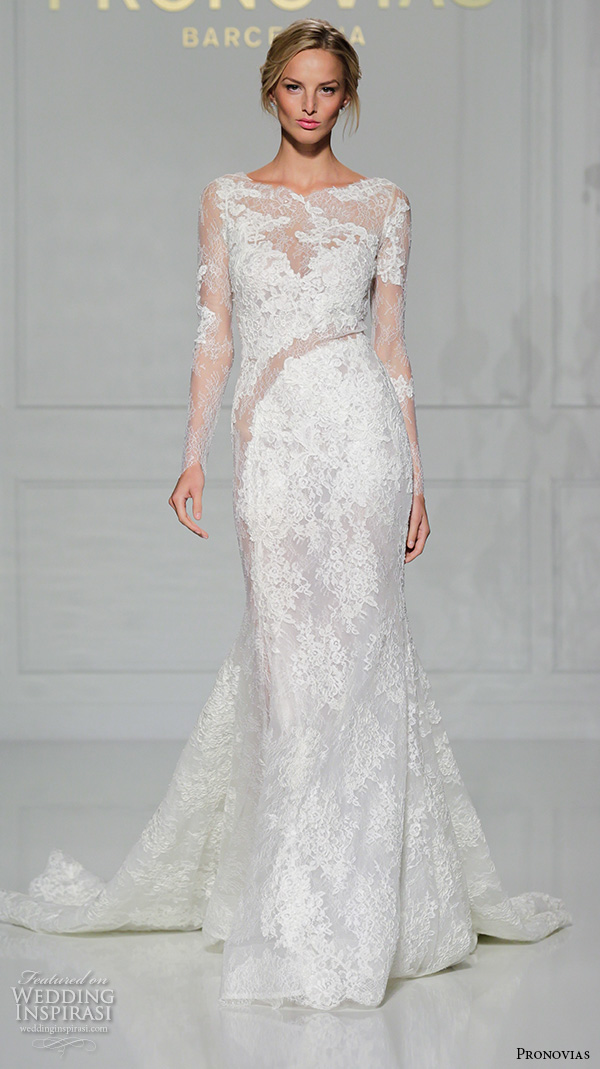 pronovias 2016 bridal gowns sexy long sleeves lace embroidery full mermaid wedding dress style varel