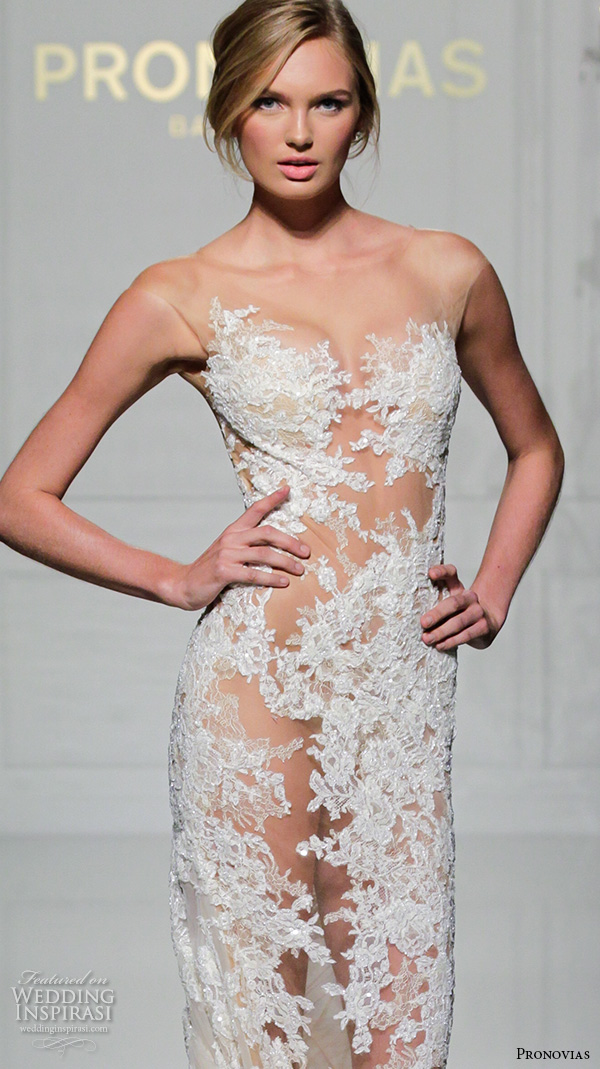 pronovias 2016 bridal gowns sexy stunning mermaid wedding dress lace embroidered long monarch train style verda closeup
