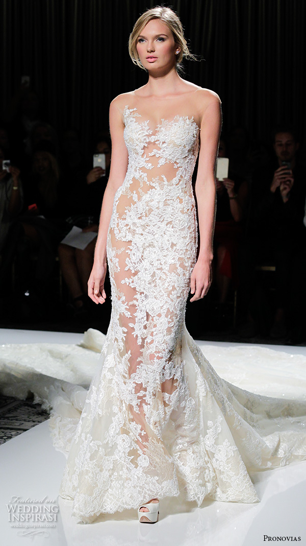 pronovias 2016 bridal gowns sexy stunning mermaid wedding dress lace embroidered long monarch train style verda