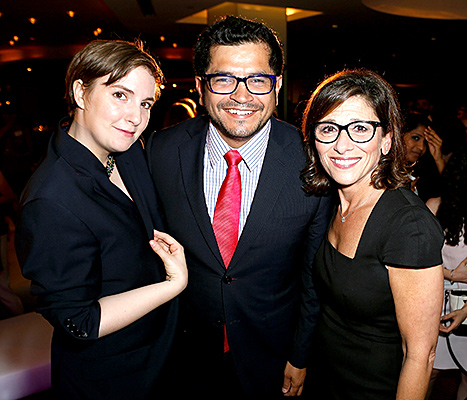 Lena Dunham (in a jacket post-auction), Jimmy Gomez, and Nina Tassler attend