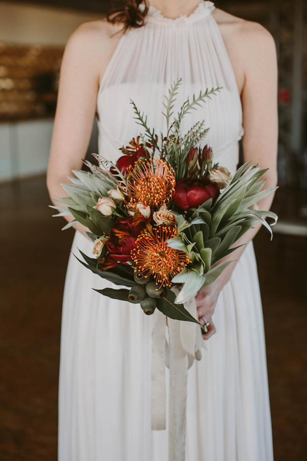 tropical bouquet - photo by Megan Saul Photography http://ruffledblog.com/modern-safari-wedding-inspiration
