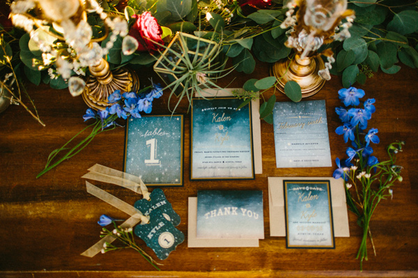astral wedding invitations - photo by Dawn Photography http://ruffledblog.com/galileo-inspired-wedding-ideas