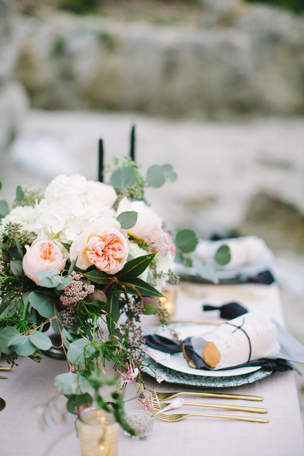 romantic beach tablescape - photo by Les Amis Photo http://ruffledblog.com/beach-wedding-inspiration-with-sequin-gowns