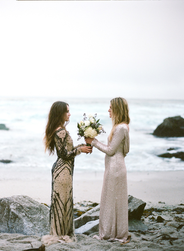 sequin bridesmaids - photo by Les Amis Photo http://ruffledblog.com/beach-wedding-inspiration-with-sequin-gowns
