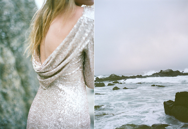 beach wedding inspiration with sequin gowns - photo by Les Amis Photo http://ruffledblog.com/beach-wedding-inspiration-with-sequin-gowns
