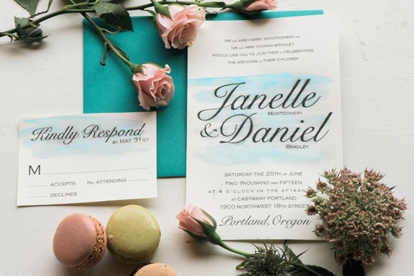 watercolor invitations - photo by Lauryn Kay Photography http://ruffledblog.com/rich-hued-portland-wedding-inspiration