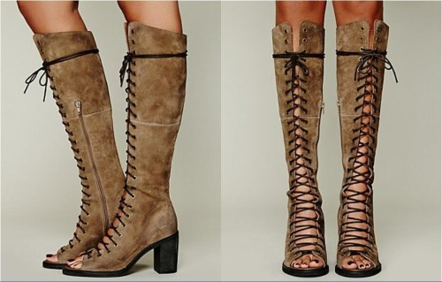 Hot-Sale-Western-Style-Knee-High-Women-Boots-Lace-Up-Botas-Classical-Black-Khaki-High-Heels