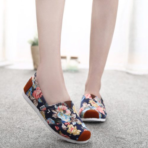 Top-Selling-Fashion-Flower-Printed-Women-Casual-Flat-Shoes-Slip-On-Blue-White-Green-Canvas-Sneakers
