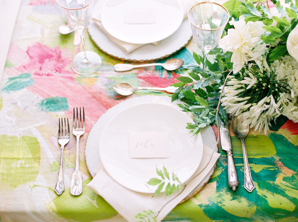 place setting - photo by Nicole Berrett Photography http://ruffledblog.com/hand-painted-wedding-inspiration