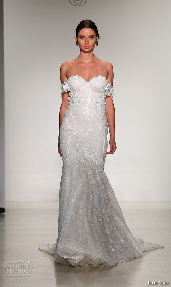 julie vino fall 2016 bridal gowns strapless lace off the shoulders embroidered mermaid wedding dress style emmanuelle