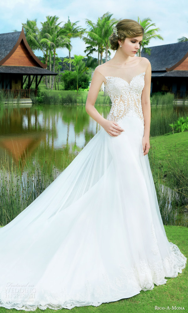 rico a mona 2015 resort collection sheath wedding dress illusion cap sleeve neckline sheer overskirt zoom