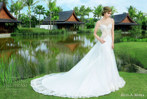 rico a mona 2015 resort collection sheath wedding dress illusion cap sleeve neckline sheer overskirt