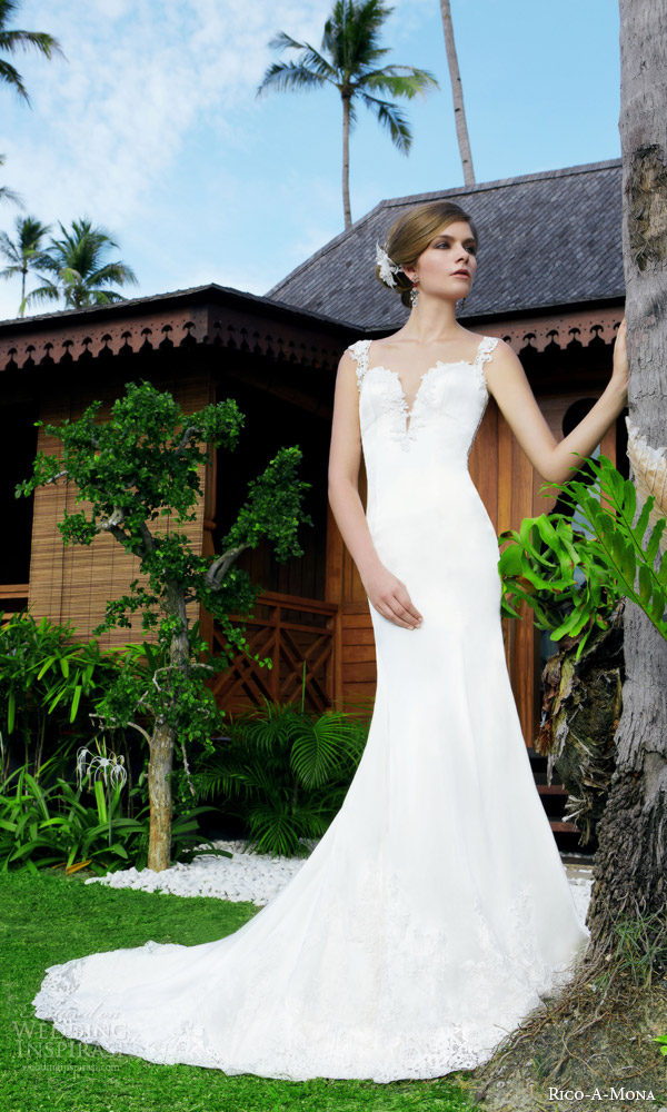 rico a mona 2015 resort collection sophisticated cap sleeve sheath wedding dress lace straps deep split neckline