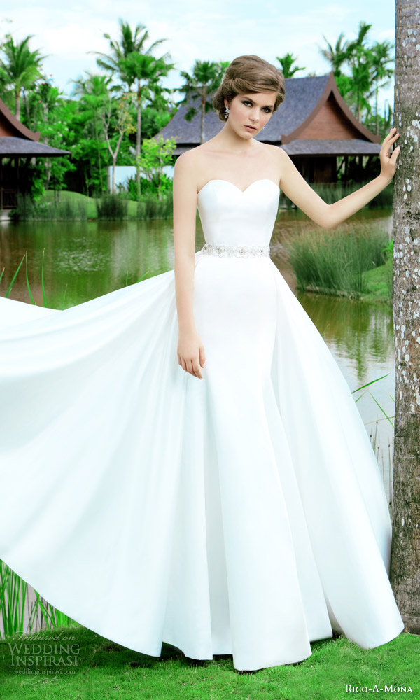 rico a mona 2015 resort collection strapless sweetheat wedding dress a line ball gown overskirt belt