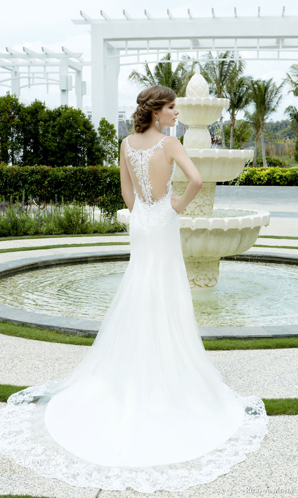 rico a mona bridal 2015 resort gorgeous sleeveless lace wedding dress illusion straps back side view train illusion back