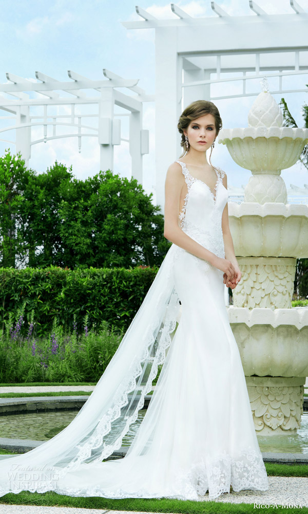 rico a mona bridal 2015 resort gorgeous sleeveless lace wedding dress illusion straps back side view train