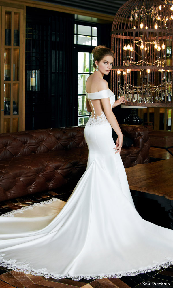 rico a mona bridal resort 2015 off shoulder sophisticated wedding dress illusion back view train