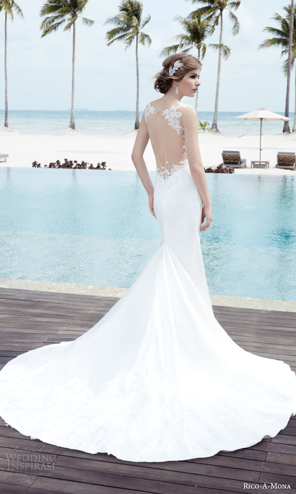 rico a mona bridal resort 2015 sleeveless sheath sexy wedding dress with illusion strap zoom illusion back view