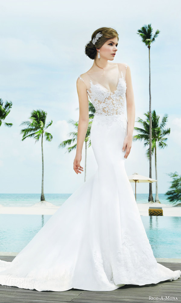 rico a mona bridal resort 2015 sleeveless sheath sexy wedding dress with illusion strap zoom