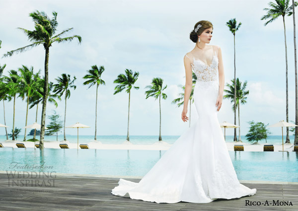 rico a mona bridal resort 2015 sleeveless sheath sexy wedding dress with illusion strap