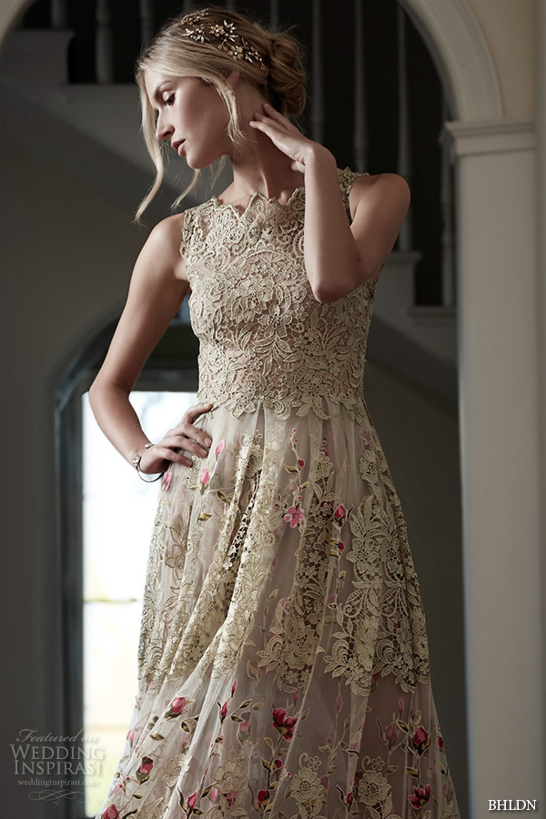 bhldn spring 2016 bridal gowns gorgeous a line sheath wedding dress golden lace embroidery with floral prints style fable closeup