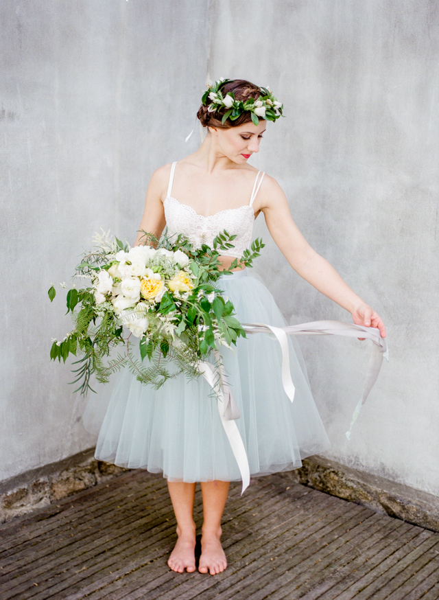 Bridal bouquet with ribbons | Lissa Ryan Photography | see more on: http://burnettsboards.com/2015/10/ballet-boudoir/