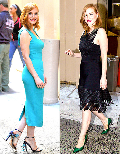 Jessica Chastain rocked two fierce pairs of shoes while promoting Crimson Peak in NYC on Oct. 13.
