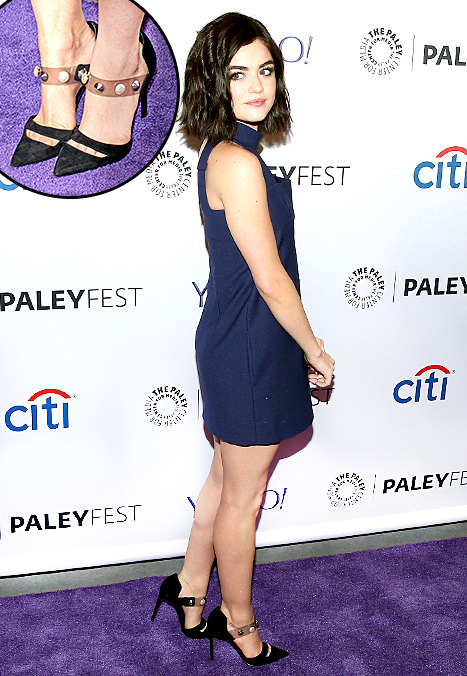 Lucy Hale chose modern Mary Janes with studs and pearls at PaleyFest in NYC on Oct. 11.