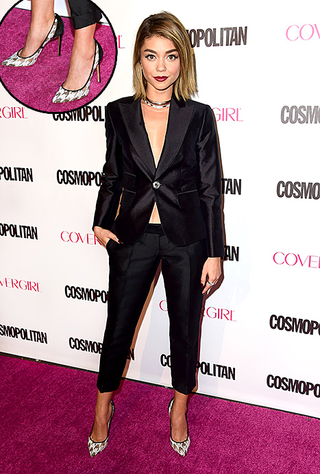 Sarah Hyland rocked lace houndstooth heels at Cosmo's Birthday Bash on Oct. 12.