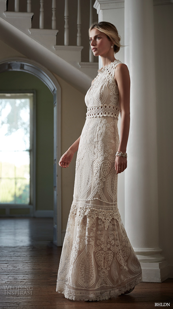 bhldn spring 2016 bridal gowns gorgeous scallop jewel neckline sheath wedding dress filigree flora lace embroidery style roane