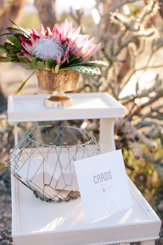 Wedding card box | M. Felt Photography | see more on: http://burnettsboards.com/2015/11/mid-century-modern-southwestern-wedding/