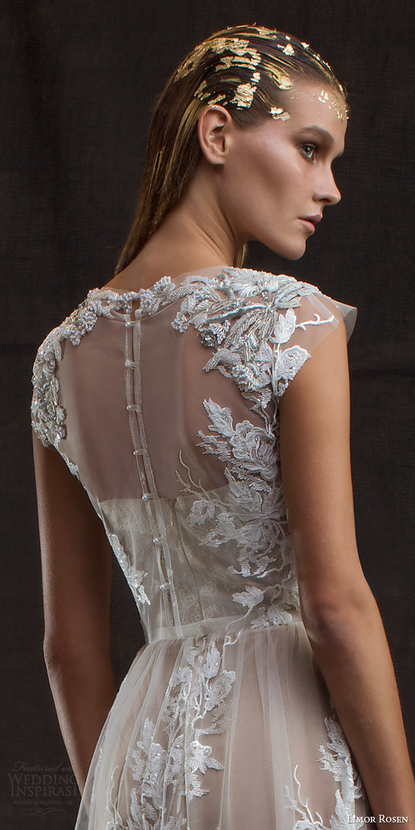 limor rosen bridal 2016 treasure aurora lace applique wedding dress two piece illusion cap sleeve crop top back view close up