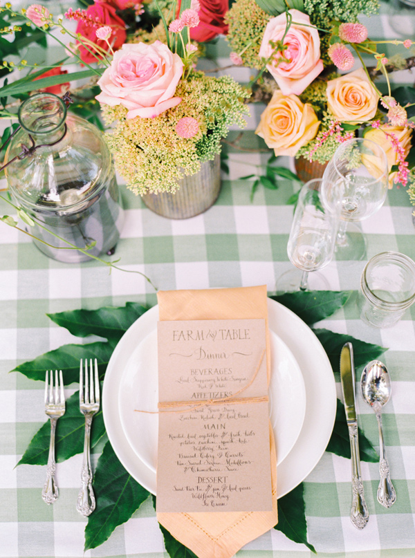 farm wedding place setting - photo by Pasha Belman Photography http://ruffledblog.com/bohemian-styled-southern-wedding-inspiration