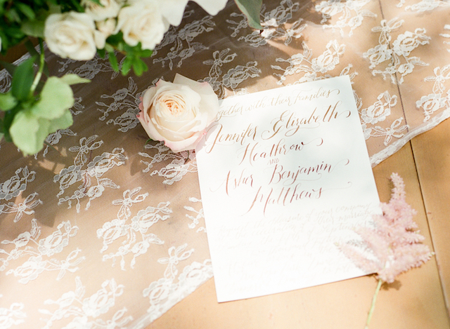 Calligraphy invitation| Stephanie Rawcliffe Photography | see more on: http://burnettsboards.com/2015/11/blush-green-outdoor-bridal-session/