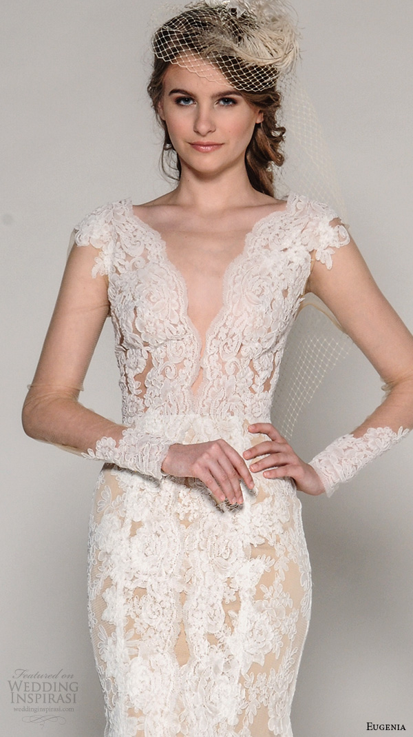 eugenia couture fall 2016 bridal cap sleeves deep plunging v neck illusion sleeves lace embroidered fit to flare wedding dress style zanna
