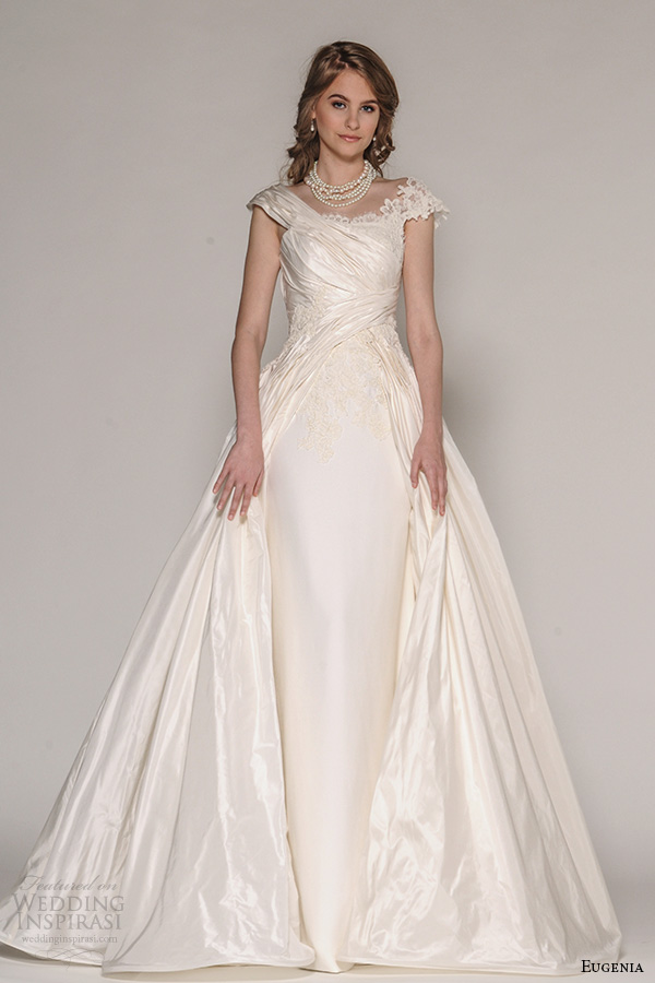 eugenia couture fall 2016 bridal cap sleeves ruche bodice sheath wedding dress full length a line overdress style ella