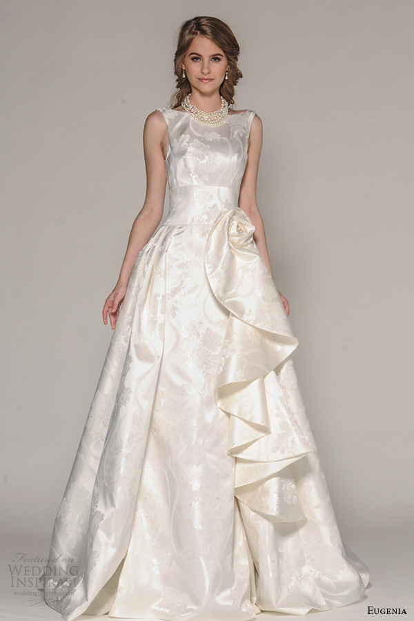 eugenia couture fall 2016 bridal sleeveless bateau neckline simmer bodice floral embroidery satin look a line ball gown wedding dress style audrey